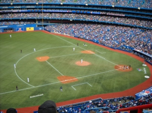 Darren Oliver pitching in the 7th inning for the Toronto Blue Jays.