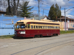 An example of one of the type of Toronto streetcars that show up in the movie 'A Christmas Story.'